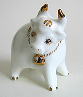 Porcelain Bull with a Bell