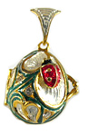 "Egg Locket ""Ladybug"" with Charm (green)"