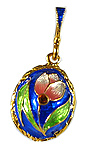 Blue Egg Pendant with Pink Tulip