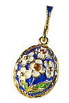 Blue Floral Bouquet Egg Pendant
