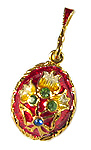 Red Floral Bouquet Egg Pendant